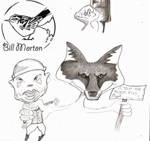 Pencil sketch random illustration (Fox Hunt). Bill Morton